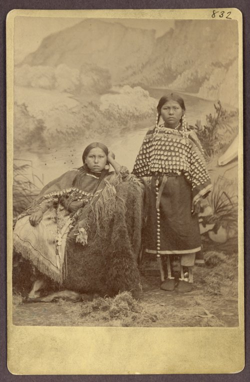 Kiowa chief, Stumbling Bear?s daughters pictured between 1875 and 1877. Daughters of important chiefs belonged to the higher classes.