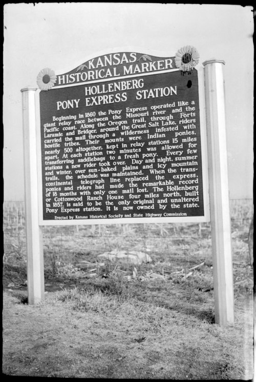 Hollenberg Pony Express Station historical marker, Hanover, Kansas - Page