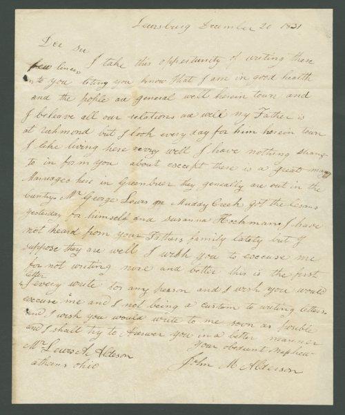 John M. Alderson to Lewis Allen Alderson - Page