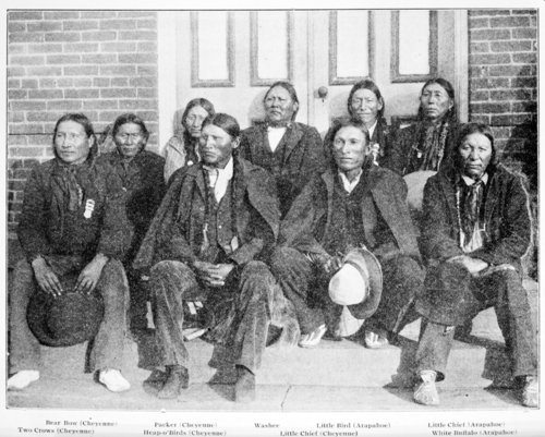 Arapaho and Cheyenne prisoners in 1905. (Back Row from Left) Bear Bow, Packer, Washee, Little Bird, Little Chief. (Front Row from Left) Two Crows, Heap O? Birds, Little Chief, White Buffalo.