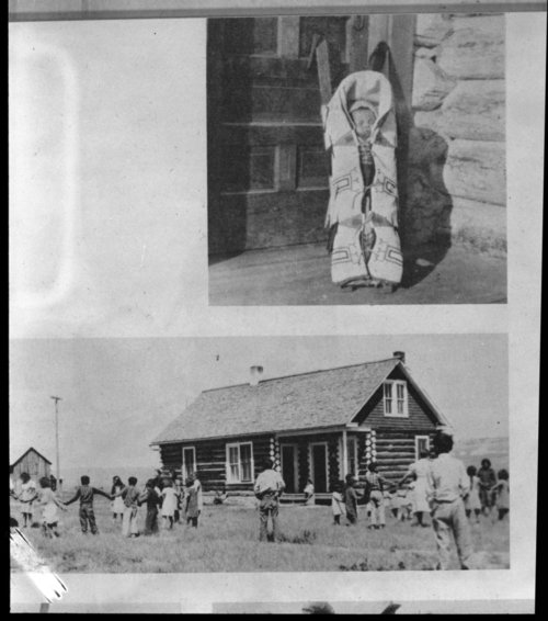 Cheyenne cradleboard and log cabin - Page