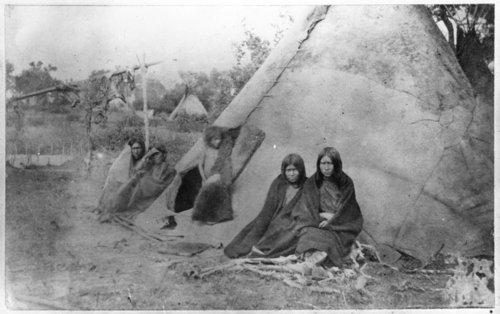 Cheyenne Indians sitting around tipi on Washita River - Page