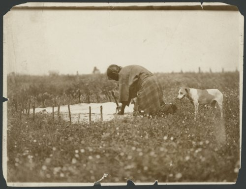 Cheyenne woman fleshing a hide - Page