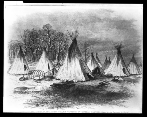 Lodges of the chiefs in the Indian village captured by General Hancock - Page