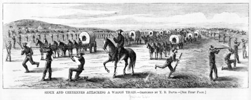 Sioux and Cheyenne attacking a wagon train - Page