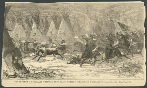 Seventh U. S. Cavalry charging into Black Kettle's village at daylight - Page