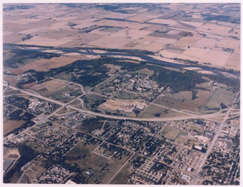 Aerial view of the Menninger Foundation west campus and surrounding area in Topeka, Kansas - Page