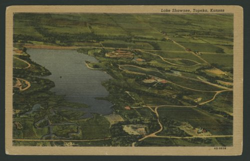 Aerial view of Lake Shawnee located east of Topeka, Kansas - Page