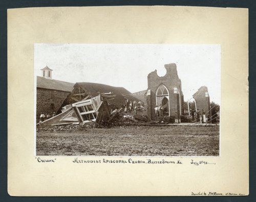 Methodist Episcopal Church damage after cyclone, Baxter Springs, Kansas - Page