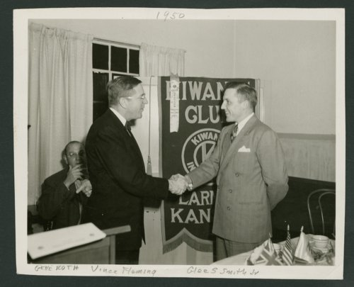 Vince Fleming installing Glee S. Smith, Jr. as president of Kiwanis Club in Larned, Kansas - Page