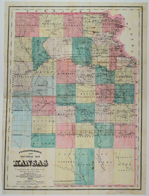 Stevenson & Morris New Sectional Map of Kansas - Page