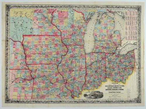 Guide thru Ohio, Michigan, Indiana, Illinois, Missouri, Wisconsin, Iowa, Minnesota, Nebraska and Kansas Showing the Township lines of the United States Surveys - Page