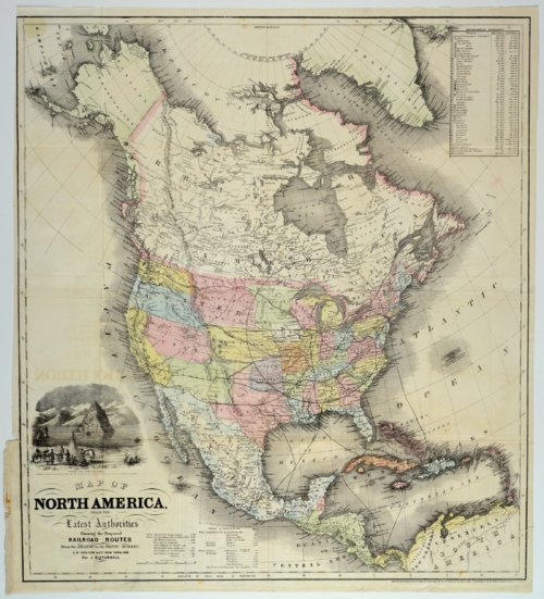 Map of North America from the latest authorities showing the proposed railroad routes from the Atlantic to the Pacific Oceans - Page