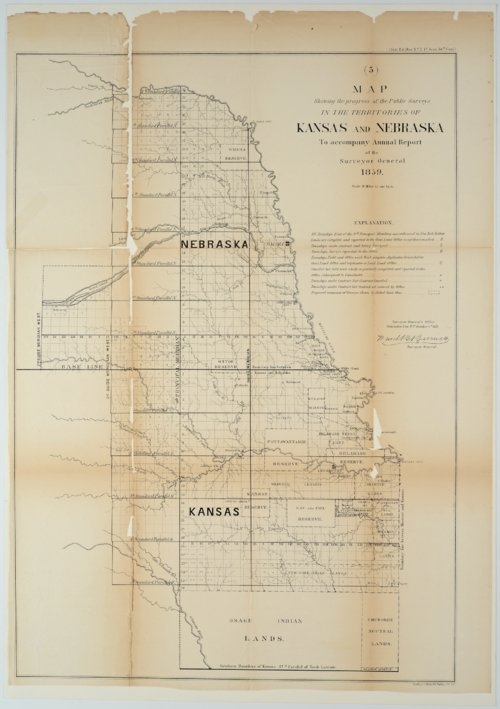 Map showing the progress of the Public Surveys in the Territories of Kansas and Nebraska - Page