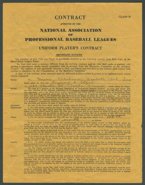 Minor league baseball contract offered to Ray Etzel of Topeka, Kansas - Page