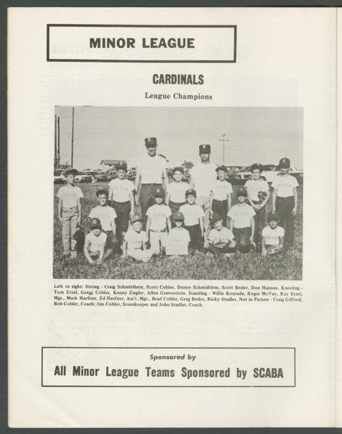 1969 SCABA baseball yearbook, Topeka, Kansas - Page