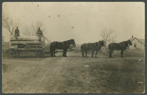 Horse-drawn wagon with large log, Pottawatomie County, Kansas - Page
