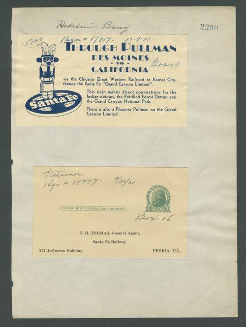 Atchison, Topeka & Santa Fe Railway Company stationery - Page