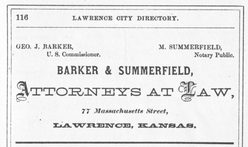 Advertisement for Summerfield & Jacobs in Lawrence, Kansas - Page
