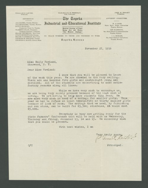 William R. Carter to Emily Howland - Page