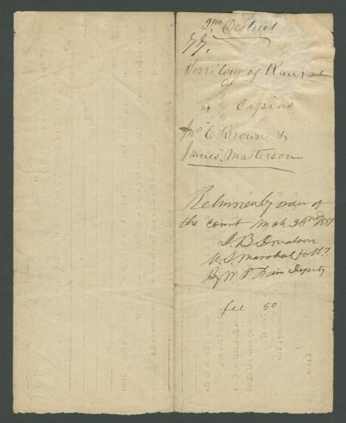Kansas Territory versus John E. Brown, James Masterson, and John Broils - Page