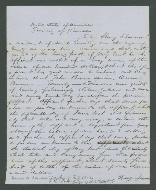 Kansas Territory, U.S. District Court versus John Brown and others for horse stealing - Page