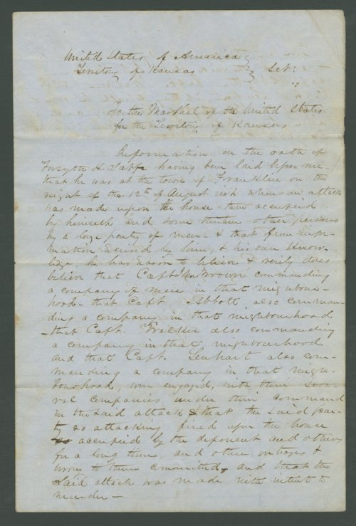 Kansas Territory, U.S. District Court versus Captain John Brown and others - Page