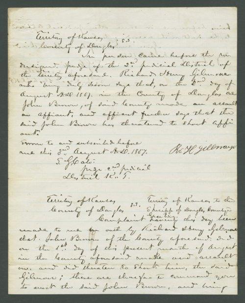 Kansas Territory, U.S. District Court versus John Brown for assault of Richard Henry Gillmore - Page