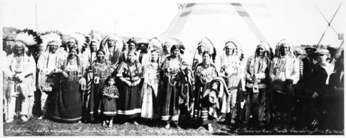 Indian warriors at dedication of Haskell Stadium in Lawrence, Kansas - Page