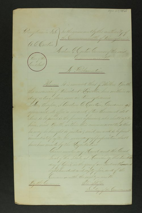 Proclamation by Pennsylvania Governor Andrew G. Curtin after President Lincoln's assassination - Page
