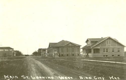 Main Street looking west in Bird city, Kansas - Page