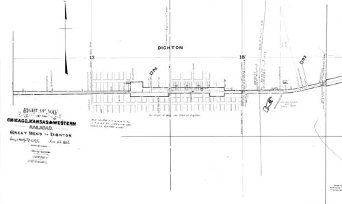 Right of way map through Dighton, Kansas - Page