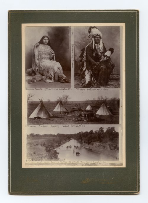 These photographs from the 1890s show a Kiowa camp near the Washita River near Anadarko. The Kiowa avoided settling near the agency at Fort Sill and lived as far north as they were permitted. A new agency was established at Anadarko by the federal government later to place an agent closer to the Kiowa.