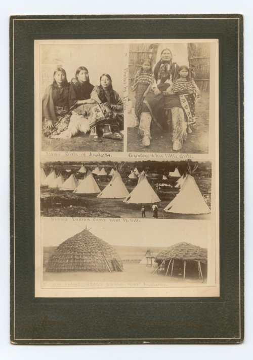Kiowa tipis are pictured in the center. Tipis were designed for a semi-nomadic lifestyle. In contrast, the Wichita grass lodges below were designed for more permanent settlement.
