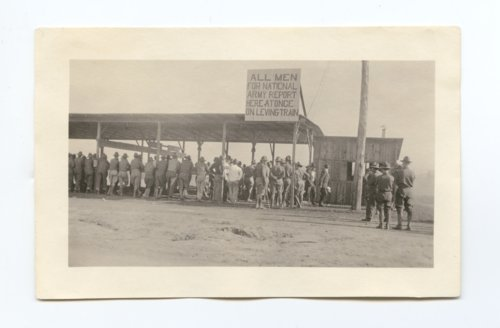 Draftees being processed at Camp Funston - Page