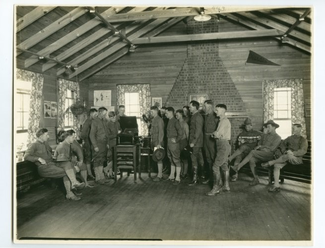 Interior view of soliders at the Y.M.C.A. at Camp Funston - Page