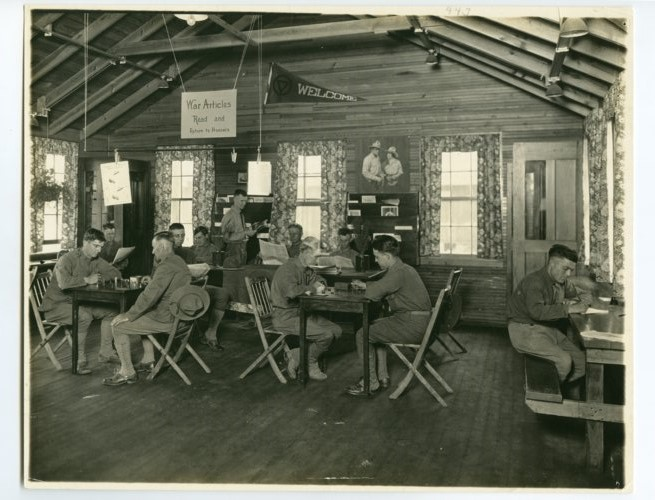 The reading corner of the YMCA at Camp Funston - Page