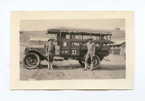 Ambulance and crew at Camp Funston - Page