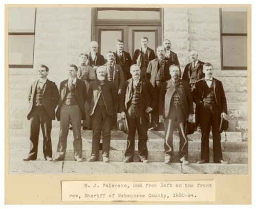 County officials on courthouse steps in Alma, Kansas - Page