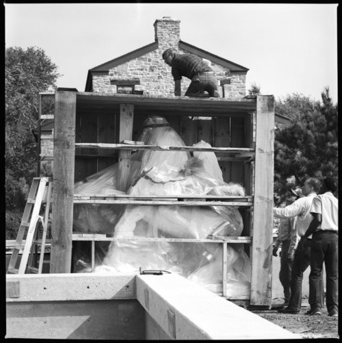 "Installation of ""The Great White Buffalo"" statue, Topeka, Kansas - Page"