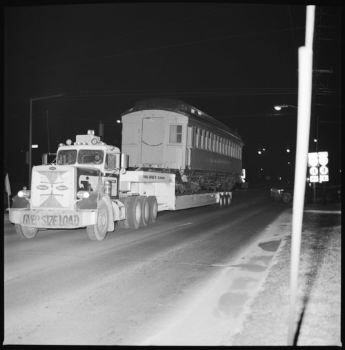 Moving the railroad car to the museum at night, Topeka, Kansas - Page