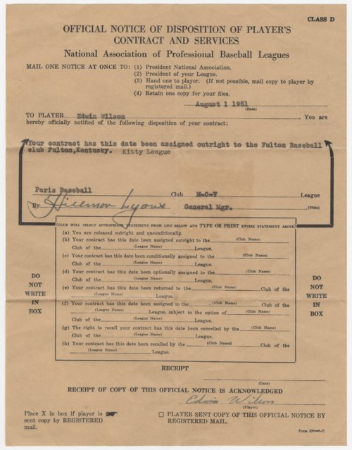 Disposition of baseball contract for Ed Wilson of Topeka - Page