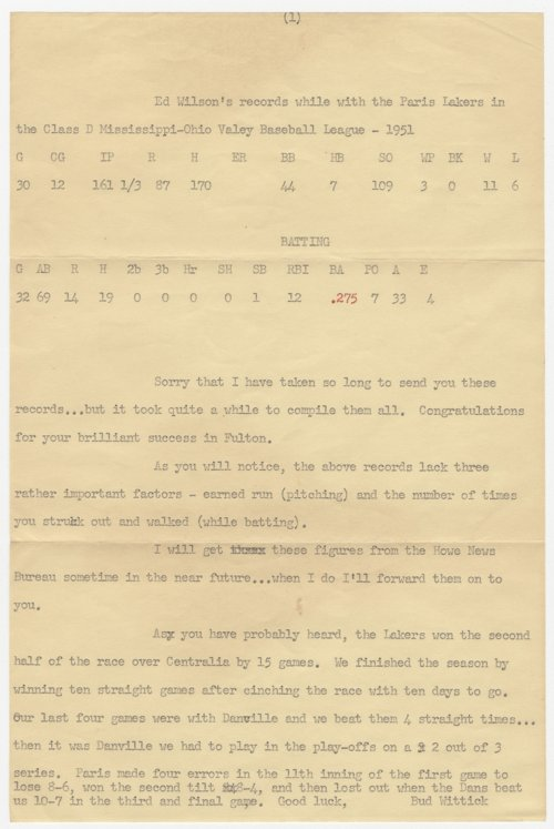 Letter about baseball record of Ed Wilson, Topeka - Page