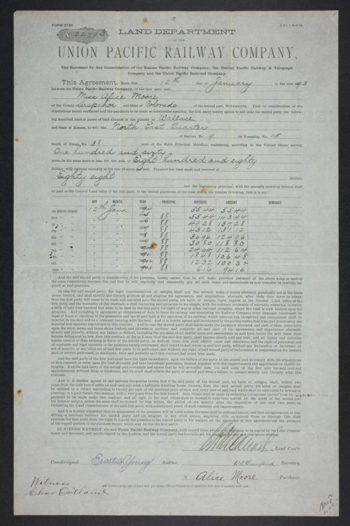 Land contract between the Union Pacific Railway Company and Alice Moore - Page