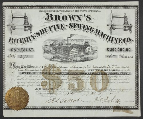 Brown's Rotary Shuttle Sewing Machine Company stock certificate - Page