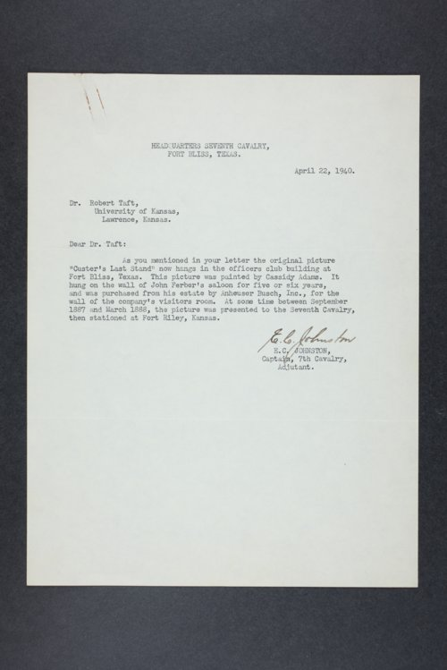 Robert Taft correspondence related to frontier artists, Adams - Blakelock - Page