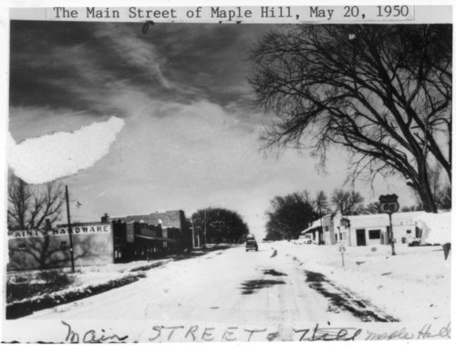 Main Street under snow in Maple Hill, Kansas - Page