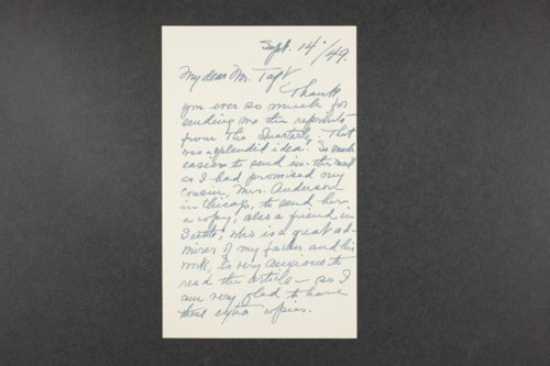 Robert Taft correspondence related to frontier artists, Catlin - Deming - Page