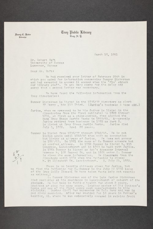 Robert Taft correspondence related to frontier artists, Dickerman - Foote - Page