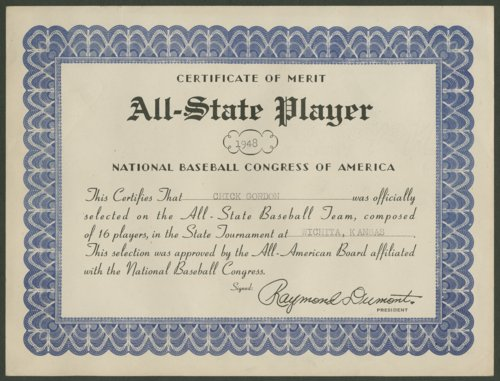 All-State team semi-pro baseball certificate - Page